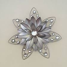 STUNNING Rustic 30cm Flower Diamante Jewelled 3d Metal Wall Art Decor