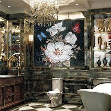 cs fm42 blumenmuster glasmosaik badezimmer fliesen design