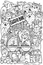 Cute Sushi Coloring Page Printable Download Free