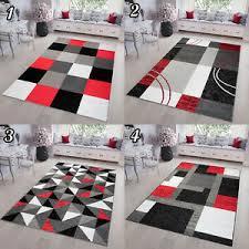 kurzflor teppich rot grau modern geometrische figuren