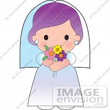 Clipart Illustration of a Purple Haired Bride In A Veil And Wedding Gown