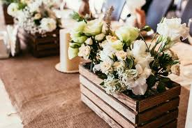 Download Rustic Wedding Decorations Wooden Box With Bouquet Of Flowers O Stock Image