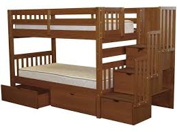 bunk beds twin stairway expresso 2 drawers 752