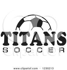 Clipart of a Black and White Ball and TITANS SOCCER Team Text