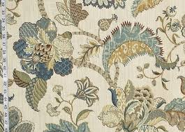 Jacobean Floral Design Curtains by Indienne Fabric Jacobean Floral Blue Gold Taupe Baronial From