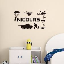 Any Name Military Army Soldiers Wall Sticker Tank Airplane Decals