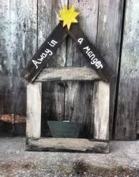 This Is A Rustic Wooden Manger Distressed And Some Painted Star Handmade Christmas Yard DecorationsChristmas