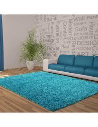 hochflor langflor wohnzimmer shaggy teppich unifarbe florhöhe 5cm türkis