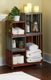 Wood Crate Shelf Diy by Diy Bathroom Storage Shelves Made From Wooden Crates Wooden