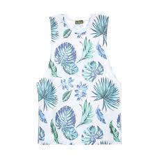 100 Coco Republic Sale Mens Leafy Print Tank Top In White