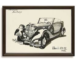Classic Car Drawing Horch 830 BL 1935 Original By ValArtGallery 3000
