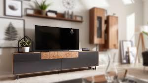 interliving wohnzimmer serie 2106 lowboard 620802 schieferschwarz raucheiche metallkufen drei klappen zwei schublad