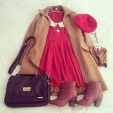 Dress Red Peterpan Collar Cute Vintage Fall Outfits Winter White Underwear Hat Bag Coat
