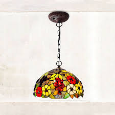 rustic grape pattern stained glass shade large kitchen pendant lights