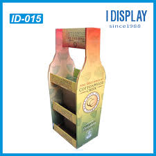Retail 3 Tier Cardboard Floor Display Rack For Wine