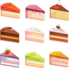 Sweet delicious cake slices pieces vector icons vector art illustration