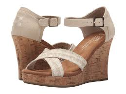 toms strappy wedge in natural lyst