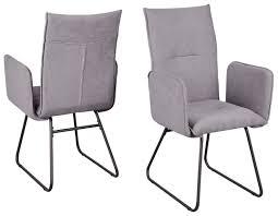 2 stühle stuhl arona r5015 03 küchenstuhl esszimmer armlehnen stuhl webstoff grau