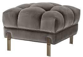 casa padrino luxus fußhocker grau messingfarben 59 x 59 x h 43 cm samt hocker mit edelstahl beinen wohnzimmer möbel