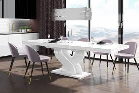 design esstisch tisch heb 111 weiß hochglanz ausziehbar 160 bis 256 cm design impex