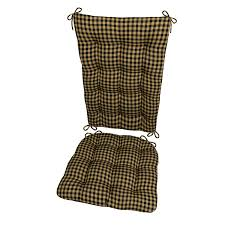 Barnett Products Rocking Chair Cushion Set - Checkers Black & Tan - Size  Extra-Large - Latex Foam Filled Seat Pad And Back Rest, Reversible - 1/4
