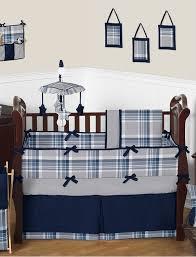 Sweet Jojo Navy Blue and Gray Plaid Baby Boys Crib Bedding Set
