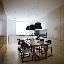 Modern Minimalist White Kitchen Design With Wood Wall Feats Dining Table Black Pendant Lamps