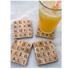 glue your favorite scrabble letters together to make coasters