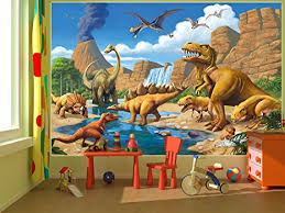 Amazon Poster Childrens Room Adventure Dinosaur Wall Picture Decoration Dino World Comic Style Jungle Waterfall Decor By