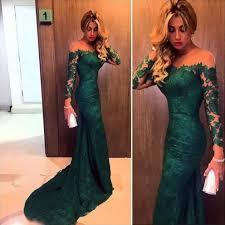 emerald green lace prom dress long sleeve mermaid prom dress off