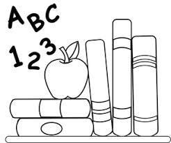 School Clipart Image Coloring Page Of Schoolbooks An Apple For Teacher And ABCs