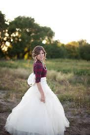 The Bride Rocking A Plaid Shirt Over Her Wedding Dress