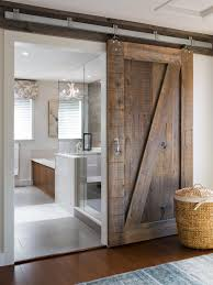 Bathroom With Walk In Shower And Wooden Sliding Barn Door ... Amazoncom Hahaemall 8ft96 Fashionable Farmhouse Interior Bds01 Powder Coated Steel Modern Barn Wood Sliding Fascating Single Rustic Doors For Kitchens Kitchen Decor With Black Stool And Ana White Grandy Door Console Diy Projects Pallet 5 Steps Salvaged Ideas Idea Closet The Home Depot Epbot Make Your Own Cheap