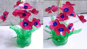 Plastic Bottle Art Flowers Best Out Of Waste Bottles Flower Vase Craft