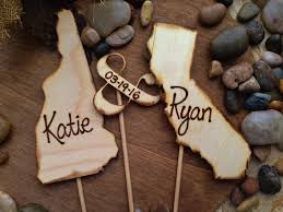 CUSTOM Wedding Cake Toppers USA States Rustic Personalized With YOUR Names Transplants 3 Pc Set Vintage Travel Country Texas Organic Natural
