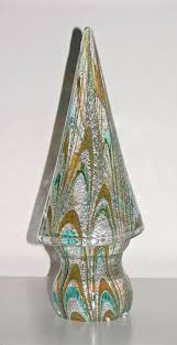 Hand Crafted Vintage Italian Murano Glass Christmas Tree Sculptures By Formia For Sale