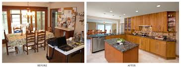 Small Kitchen Remodel Before And After With Light Scheme Cabinets Plus Marble Countertop Backsplashes