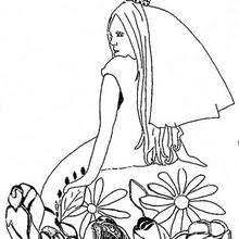 Princess And Dog With Flowers Coloring Page
