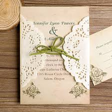 Rustic Lace Pocket Green Ribbon Wedding Invites EWLS005