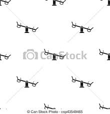 Seesaw Icon In Black Style Isolated On White Background Play Garden Pattern Stock Vector