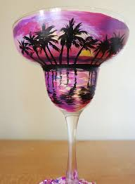 Diy Hand Painted Pink Beach Sunset Margarita Glass By Kristen Allen Etsy Listing At