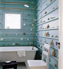 Creative Traditional Bathroom With Vintage Brass Shower Interior Design And Decoration Ideas Starfish Shell As Wall Decor Unique
