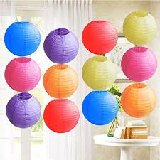 12pcs Colorful Shade 10 Round Paper Lanterns Lamp DIY Chinese For Wedding Birthday PartyFestivals Garden Decorations