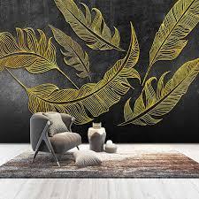 custom foto wand papier 3d goldene geprägte feder große