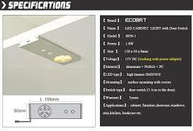 ecobrt 12v 2w led sensor cabinet light lights with door switch