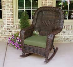 Ebay Rocking Chair Cushions by Dark Brown Wicker Rocking Chair With Green Cushion Ebay