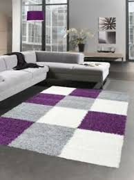 details zu shaggy teppich hochflor langflor teppich karo lila grau creme