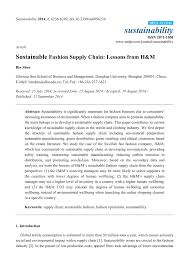 PDF) Sustainable Fashion Supply Chain: Lessons From H&M