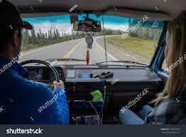 Couple Driving Van While Living Vanlife Stock Photo (Edit Now ...