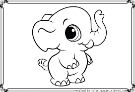 Download Coloring Pages Baby Elephant On Painting Desktop